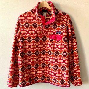 Patagonia Synchilla Rare Aztec Print Pullover Sweater Red Orange size M